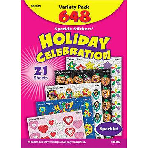 """Trend Enterprises Sparkle Stickers Holiday Celebrations Themed Jumbo Pack, 1.25"""", Pack of 648"""