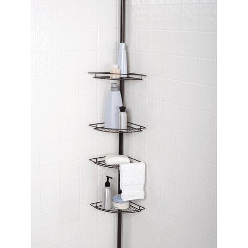 CORNER SHOWER SHELF STORAGE Bathroom Pole Rack Organizer Bronze ...