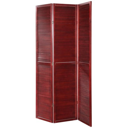 Legacy Decor 3 Panel Solid Wood Shutter Accordion Screen Room Divider in a Cherry