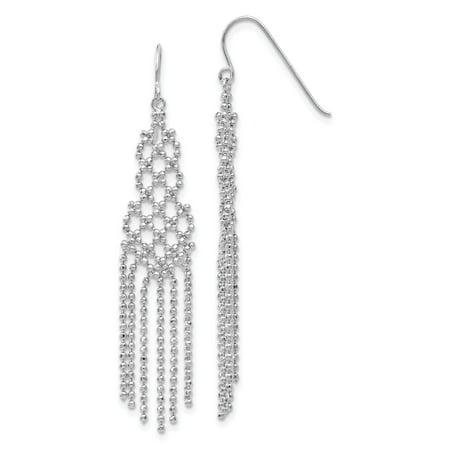 14k White Gold Beaded Earrings