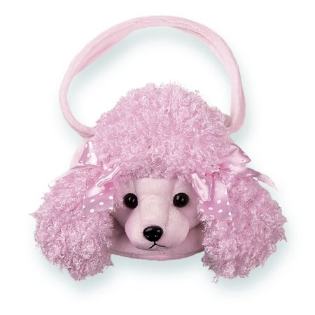 Bearington Frenchy Pink Poodle Carrysome Girls Stuffed Animal Purse, Handbag 7, 7 x 7 Adorable Stuffed, Pink Poodle Dog Purse By Ship from US