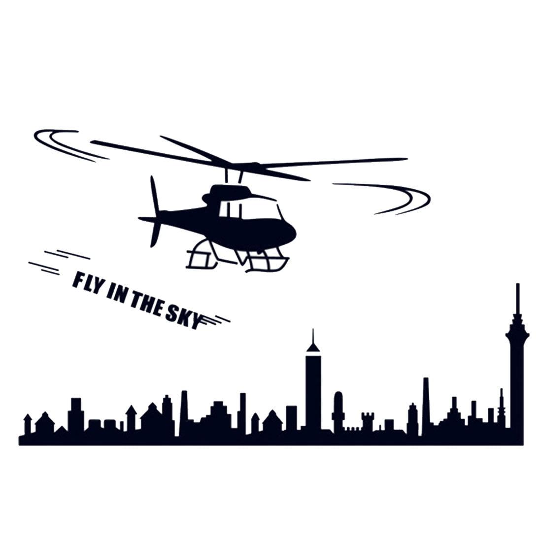 Voler En Helicoptere Chambre Vivant Dans Ciel Imprimer Decoration