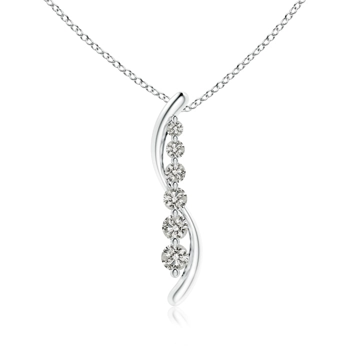 April Birthstone Pendant Necklaces Six Stone Diamond Journey Necklace in Platinum (3.8mm Diamond) SP0795D-PT-KI3-3.8 by Angara.com