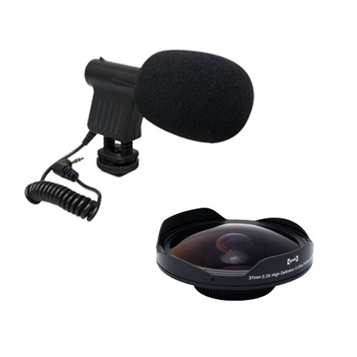 Opteka VM-8 Directional Mini-Shotgun Microphone with Opteka Platinum Series 37mm 0.3X HD Ultra Fisheye Lens... by Opteka