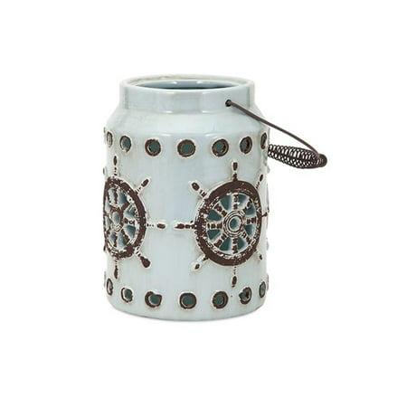 "9"" Small Nautical Distressed Light Blue Ship Wheel and Porthole Patterned Ceramic Candle Holder Lantern"