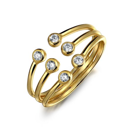- Tri Stone Stackable Colorless Cubic Zirconia Open 3 Row Statement Ring 14K Gold Plated 925 Sterling Silver