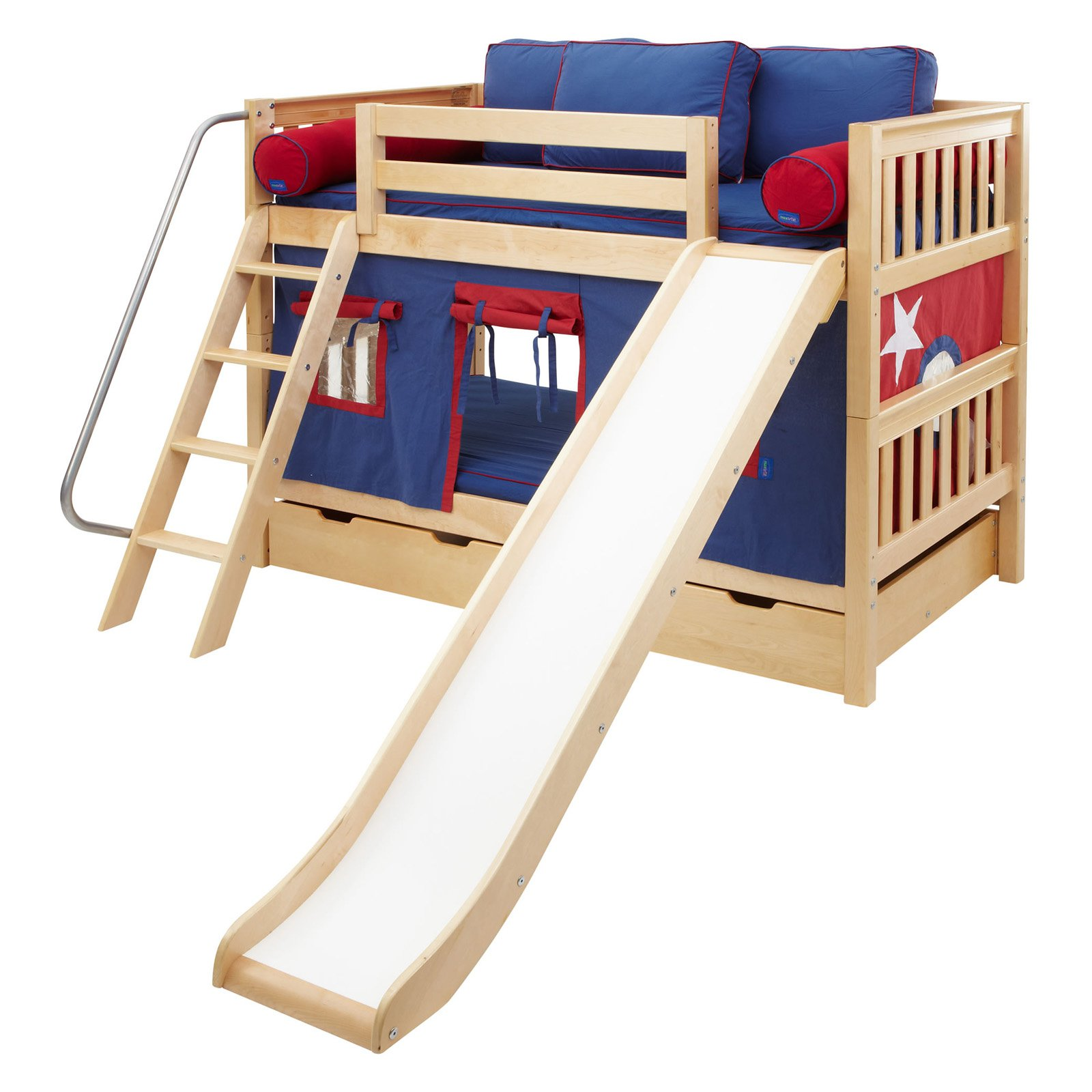 Laugh Boy Twin over Twin Slat Slide Tent Bunk Bed Walmart