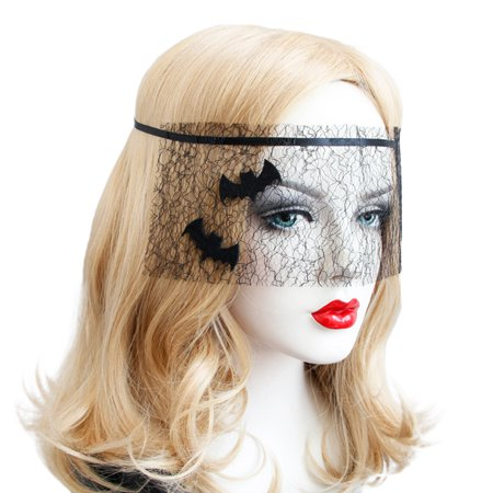 For Halloween Party Women Black Elegant Bat Design Mesh Veil Delicate Makeup Party Mask