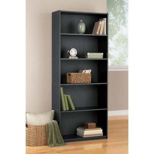 Mainstays 5-Shelf Bookcase, Black