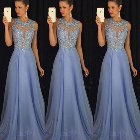 Women's Sequin Long Formal Wedding Evening Ball Gown Party Prom Bridesmaid Dress