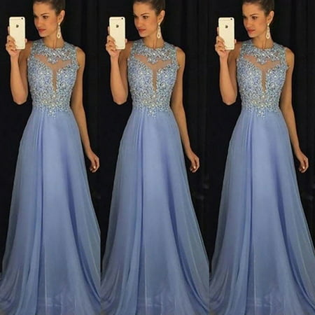 2 Piece Long Gown (Women's Sequin Long Formal Wedding Evening Ball Gown Party Prom Bridesmaid Dress)