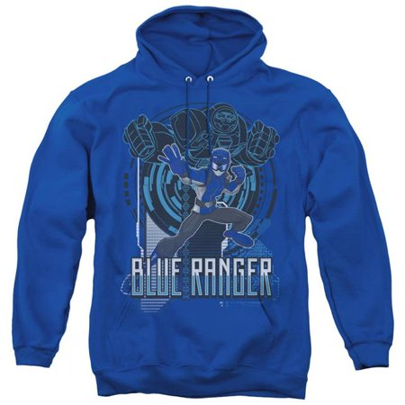 Trevco Sportswear PWR2404-AFTH-3 Power Rangers & Blue Ranger Print Adult Pull-Over Hoodie, Royal Blue - Large - image 1 of 1