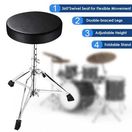 """Yescom Drum Throne Padded Seat Drummer Stool Round Chair 12""""-20"""" Adjustable Folding Stand Percussion Accessory"""