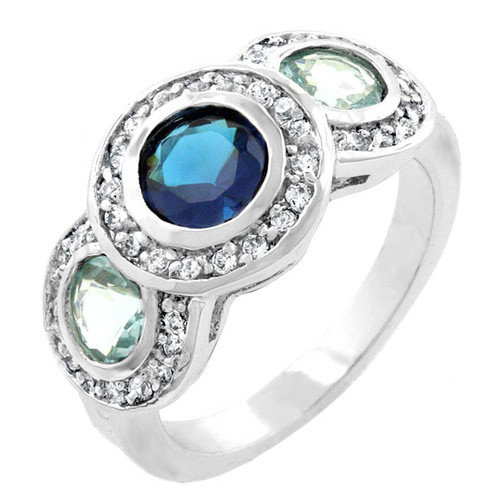 Kate Bissett Silver-Tone Designer Inspired Blue Cubic Zirconia Cocktail Ring