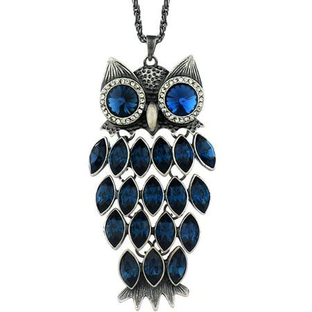Neoglory blue crystal made with swarovski elements vintage owl neoglory blue crystal made with swarovski elements vintage owl pendant necklace charm jewelry 354 aloadofball Gallery