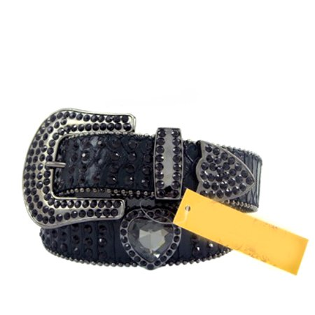 Black Leather Belt in a Crocodile Pattern, Decorated in High Quality Black Crystals, Size S/M