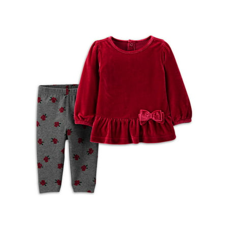 Child of Mine by Carter's Baby Girl Velvet Top & Pant Outfit, 2pc set