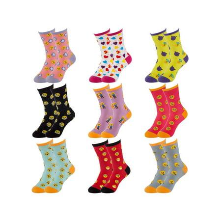 Sock Lab (9 Pairs) Women's Emoji Print Crew Socks In Reusable Gift Box Ladies Novelty Colored Socks For Women Fun](Michael Jackson Socks For Sale)