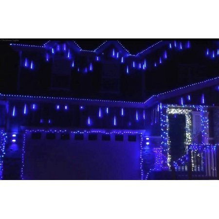 Falling Rain Lights - Meteor Shower Lights Christmas Lights 50cm 8 Tube 240 LEDs, Falling Rain Drop Icicle String Lights for Christmas Tree Halloween Decoration Holiday Party Wedding (Blue) (Rin And Len Halloween)