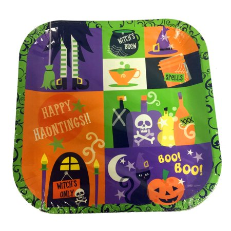 Happy Haunting Halloween Paper Plates 8 Count 9 Inches Square Party Decoration - Happy Halloween Nascar