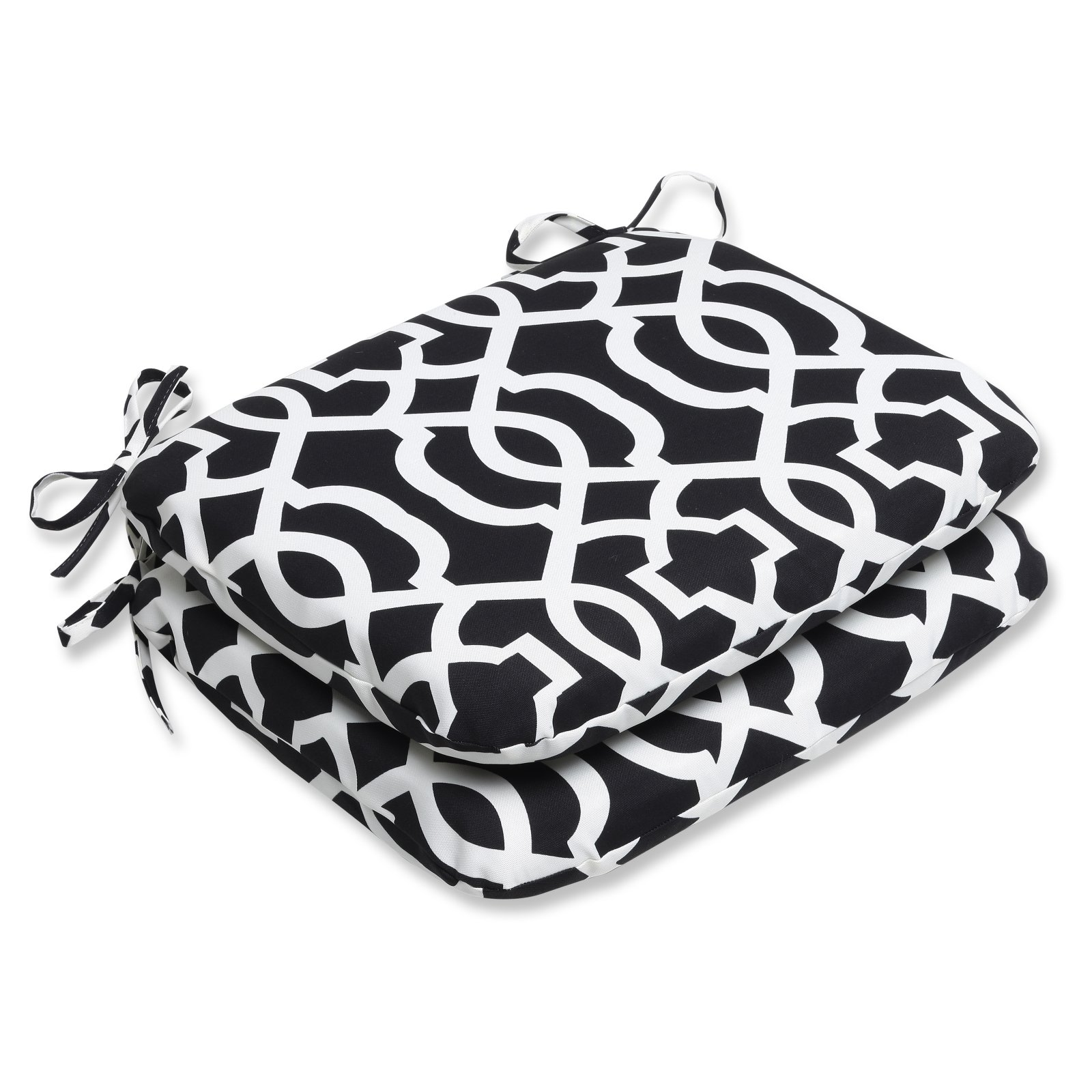 Pillow Perfect Outdoor  Indoor New Geo Black White Rounded Corners Seat Cushion (Set of 2) by Pillow Perfect Inc