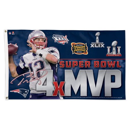 Tom Brady 4 Time Super Bowl Mvp Flag And 3X5 Banner