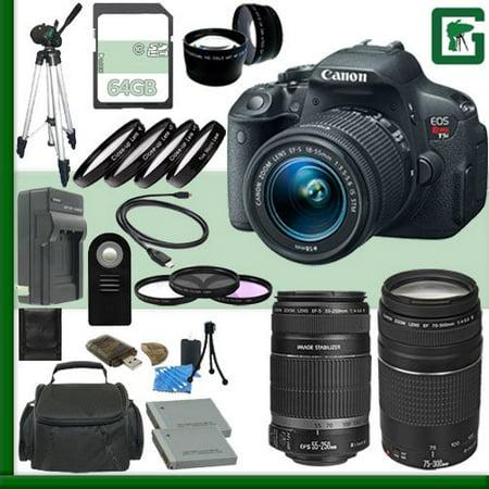 Canon EOS Rebel T5i Digital SLR Camera Kit with 18-55mm STM Lens and Canon 55-250mm STM Lens and Canon EF 75-300mm III Lens + 64GB Green's Camera Package 2 (Digital Camera Canon Rebel T5i)