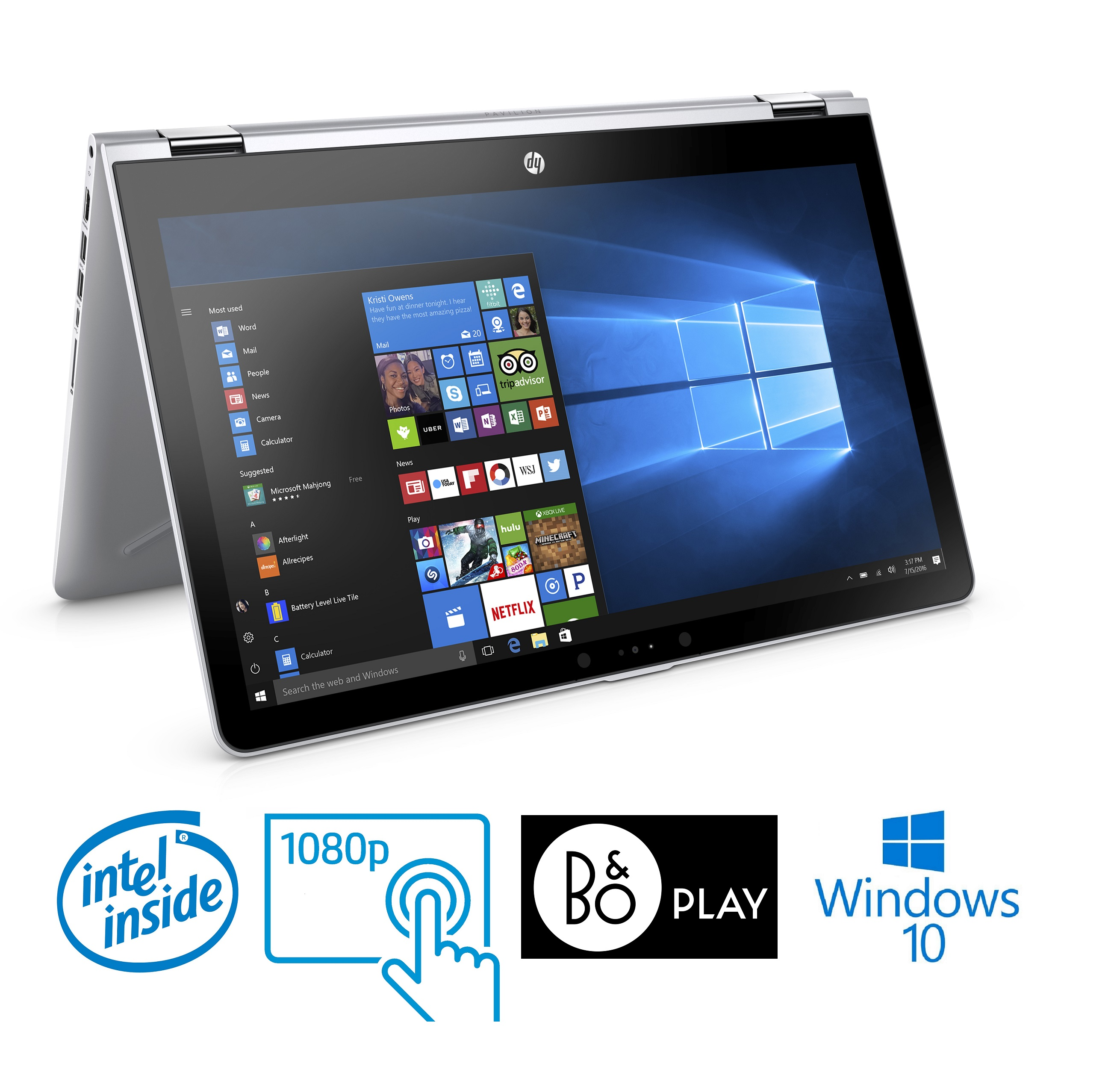 "HP Pavilion 15-br x360 Pentium 6GB 15.6"" Full HD Touch Screen Convertible Laptop (Refurbished)"