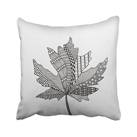 Black And White Decorative Design (WinHome Creative Black And White Maple Leave Design Pattern Decorative Pillowcases With Hidden Zipper Decor Cushion Covers Two Sides 18x18 inches)