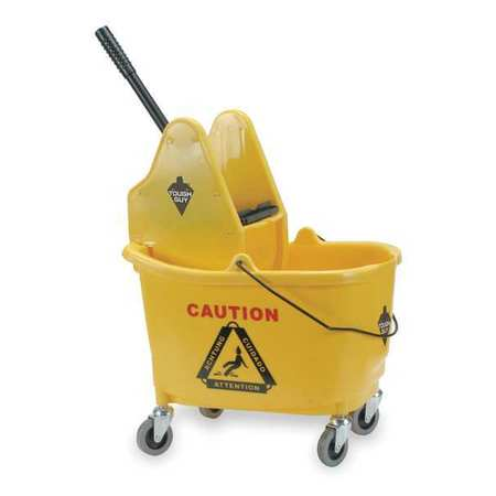Tough Guy 2PYH5 Yellow Polypropylene 12 to 32 oz. Mop Bucket and Wringer