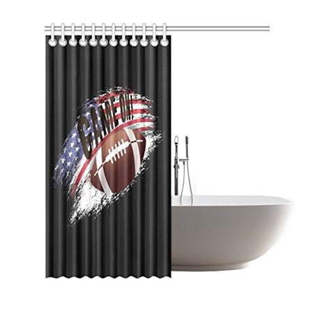 GCKG Sports Game On Shower Curtain, American Football Polyester Fabric Shower Curtain Bathroom Sets 66x72 Inches - image 1 de 3