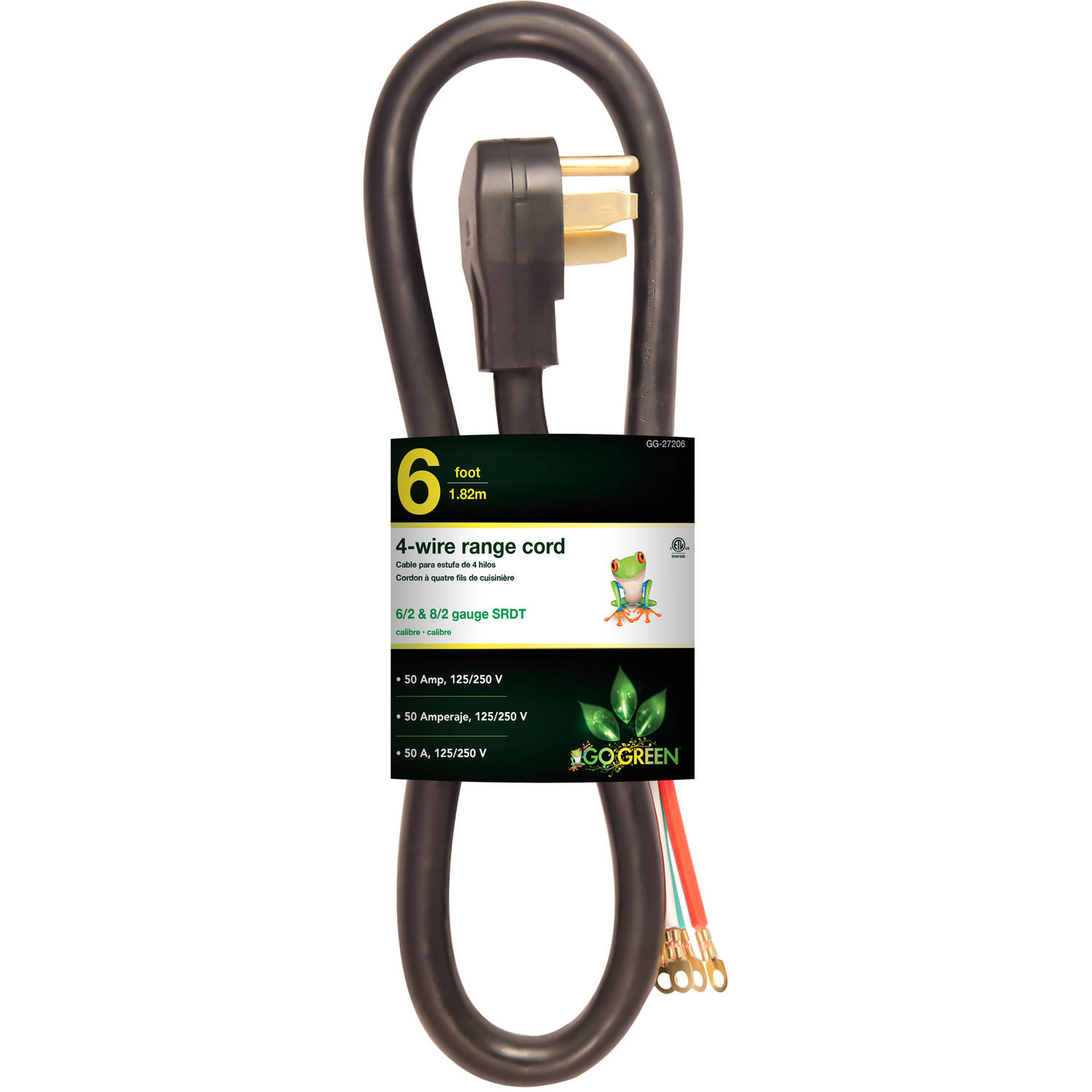 GoGreen Power 6' 4-Wire Range Cord, Black, 27206
