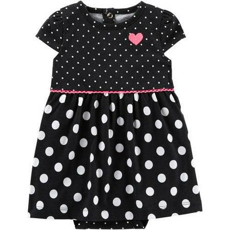 f3817c36d4095 Baby Girls Black Dot Dress (3-6Mos)