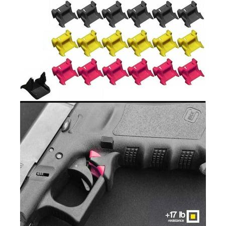 Safe-Draw Passive Trigger Pull Guard Safety Lock Kit Pistol Glock 17 - 41 -  1 Lower Base Frame Block + 6 Upper Neon Pink 17 lb Pressure + 6 Upper