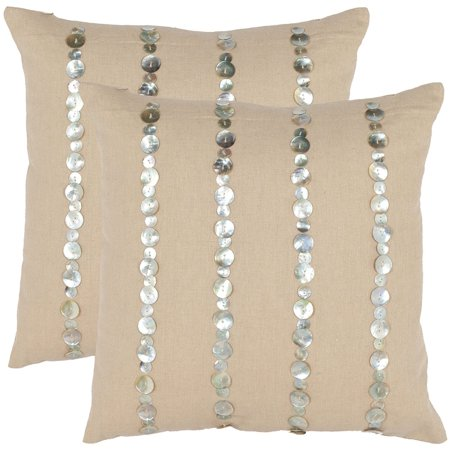 Safavieh Pillow Collection 18-Inch Strips Pillow, Almond, Set of 2
