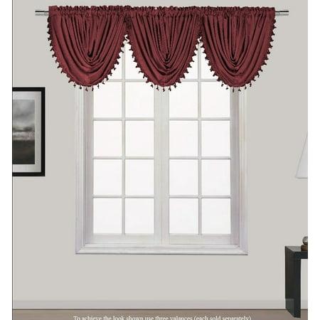 HOLLYWOOD 1-Piece BURGUNDY Waterfall Rod Pocket Window Valance with Decorative Trim 55
