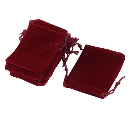 Velvet Sundries Pen Eraser Keychain Ring Holder Drawstring Bag Burgundy 10 Pcs - Ring Bearer Backpack
