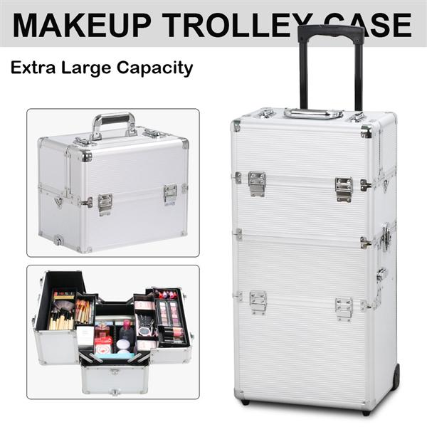 Yaheetech 3 in 1 Professional Aluminum Artist Train Case Cosmetic Rolling Makeup Train Cases Cosmetic Organizer(4 wheeler accessories) Silver Gift