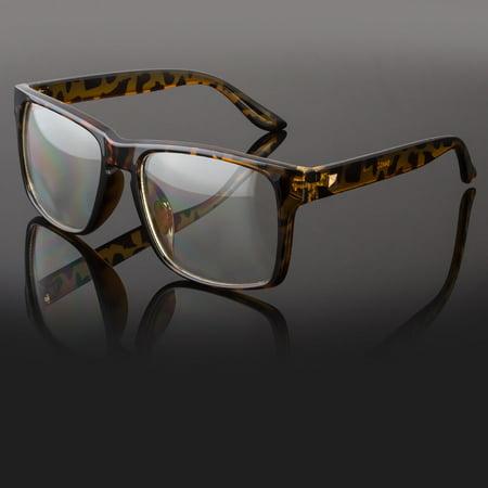 Large Oversized Vintage Glasses Clear Lens Thick Frame Nerd Glasses Retro (Thick Black Glasses)