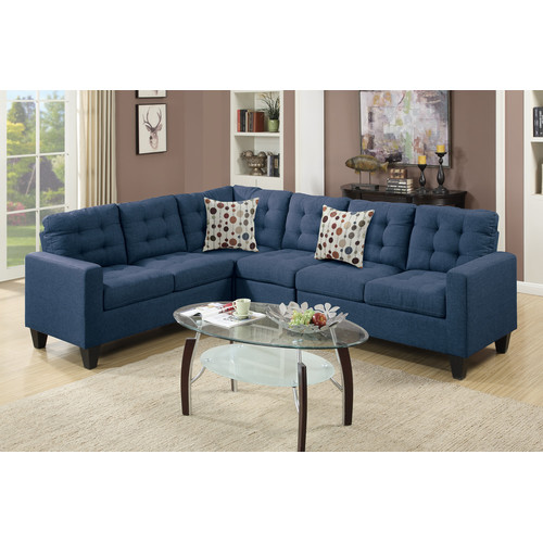 Bobkona Burril Linen-Like Polyfabric 4-Piece Left or Right Hand Reversible Sectional Set by Poundex