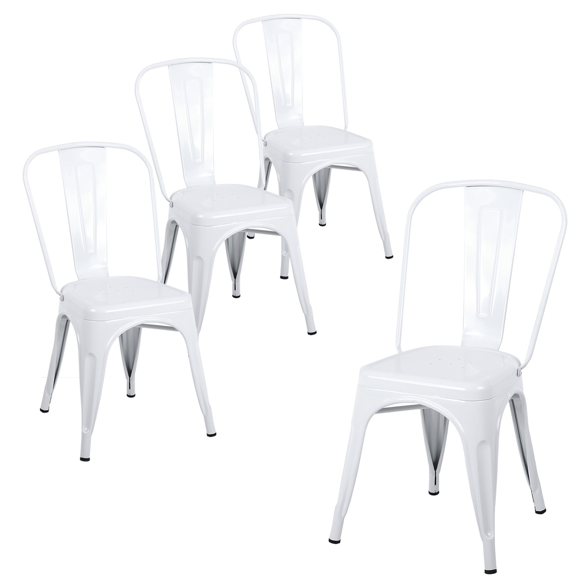Buschman Set Of Four White Tolix Style Metal Indoor/Outdoor Stackable  Chairs With Back