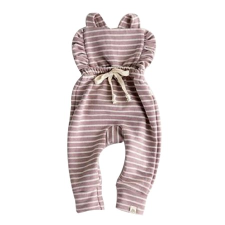 Newborn cute Girl Boy Backless Striped Ruffle Romper Overalls Jumpsuit Clothes