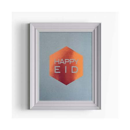 modernEID Happy Eid Decorative Foil Art Print, Copper ()