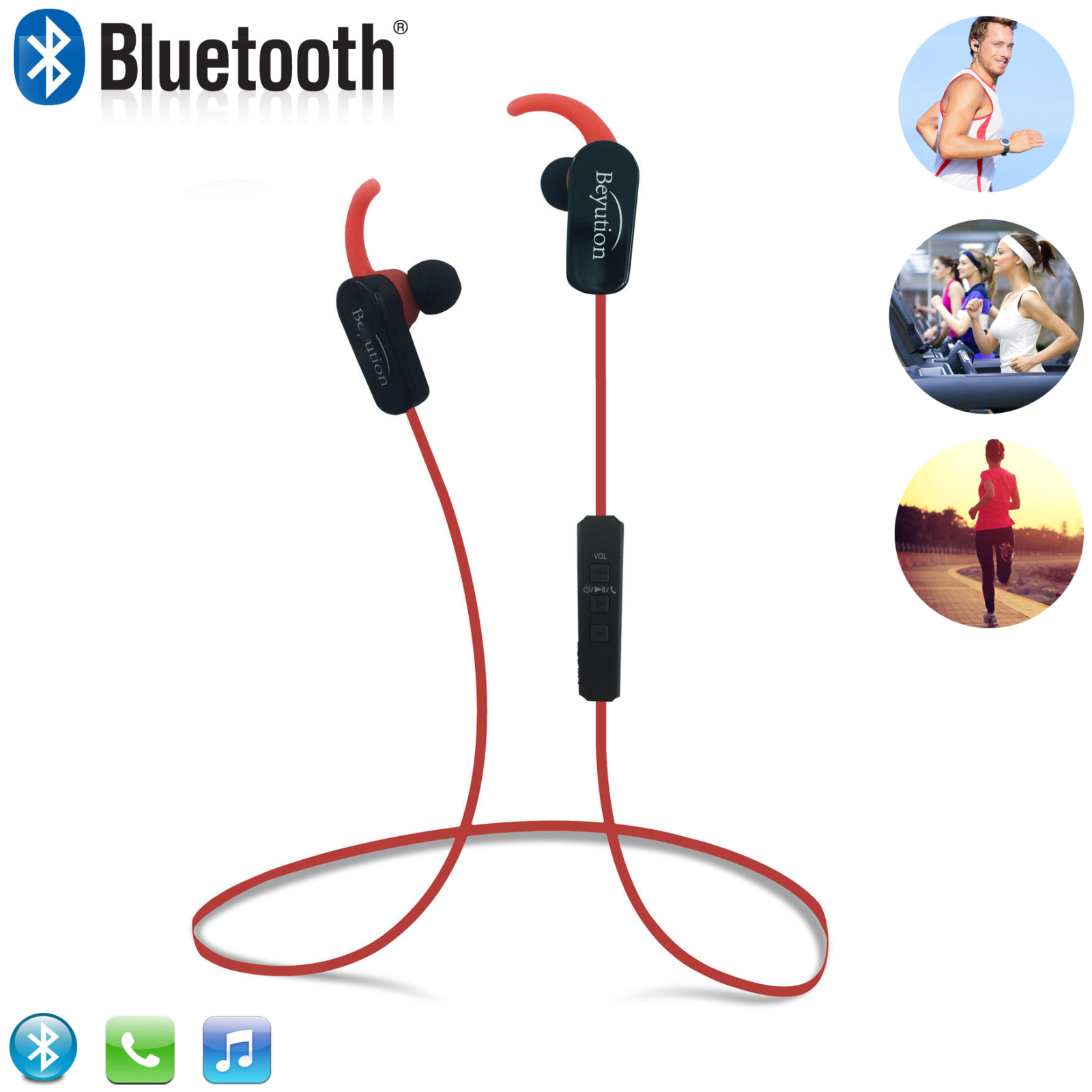 Beyution BT508S Bluetooth V4.1 Sport Headphones, Wireless Earbuds for Running Workout, Noise Cancelling Sweatproof Cordless Headset for Gym Use, Earphones w/Mic, iPhone Android Laptop PC (Red)