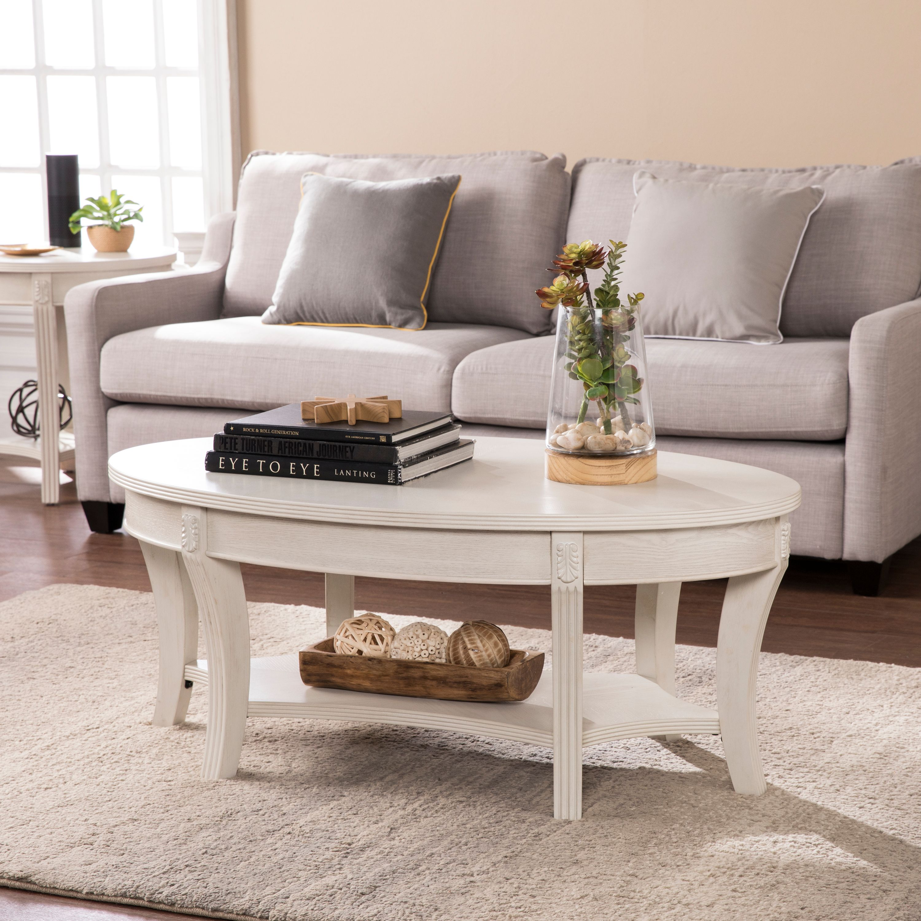 Southern Enterprises Lirreo Traditional Oval Cocktail Table, Whitewash