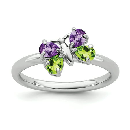 925 Sterling Silver Purple Amethyst Green Peridot Butterfly Band Ring Size 5.00 Stackable Gemstone Birthstone February Fine Jewelry Gifts For Women For Her - image 8 of 8