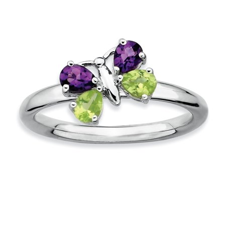 925 Sterling Silver Purple Amethyst Green Peridot Butterfly Band Ring Size 5.00 Stackable Gemstone Birthstone February For Women Gift Set