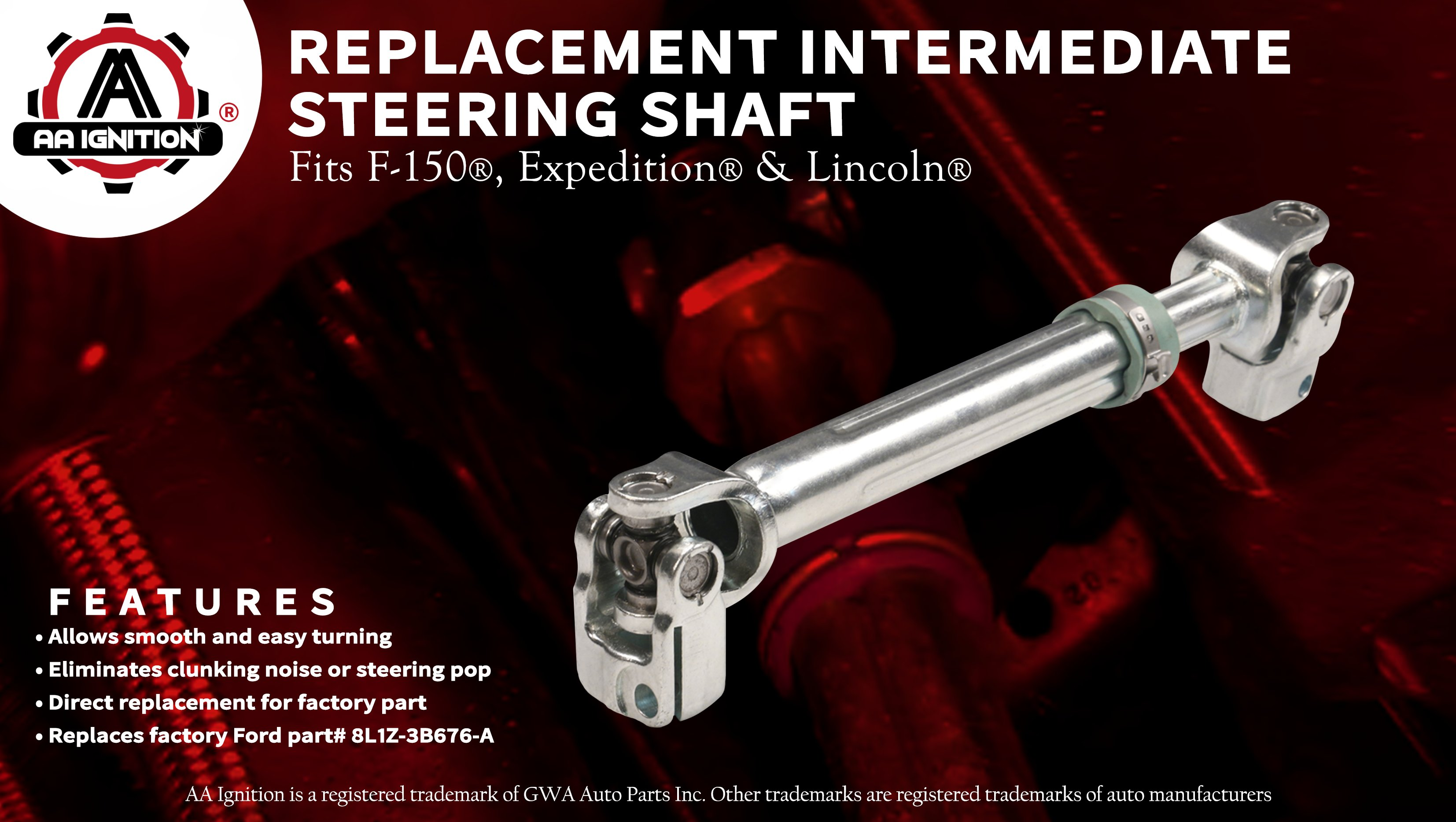 Intermediate Steering Shaft with U Joint Coupler - 2009-2014 Ford F150,  2007-2014 Expedition & Lincoln Navigator - Replaces# 8L1Z-3B676-A,  8L1Z3B676A