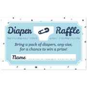 Hello Little One - Blue and Silver - Diaper Raffle Boy Baby Shower Game -18 Count