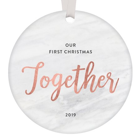 Our First Christmas Together Ornament 2019 Couples Gift Boyfriend Girlfriend Partner Engaged Relationship Wedding Anniversary Married Present Keepsake Rose Gold Tree Decor Ceramic 3